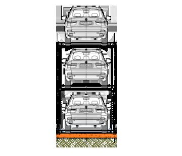 Triple Car Stacker Icon