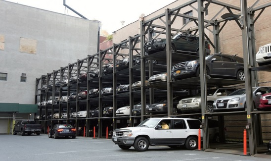 Four car parking system stacker
